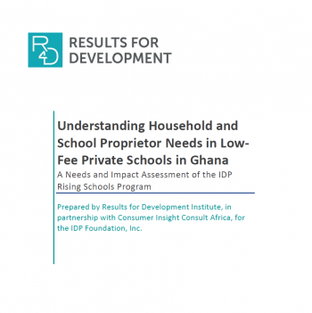 Needs and Impact Assessment of the IDPRSP by Results for Development (R4D)