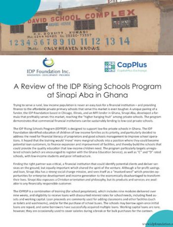A Review of IDPRSP at Sinapi Aba Ghana, by CapitalPlus Exchange (CapPlus)